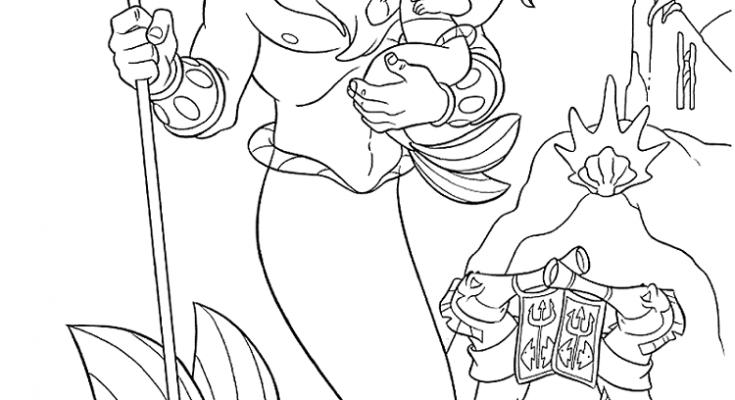 El Rey Tritón Con Su Hija La Sirenita Dibujos Para Colorear