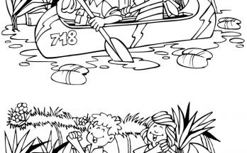 Dibujo Canoas navegando por el nilo