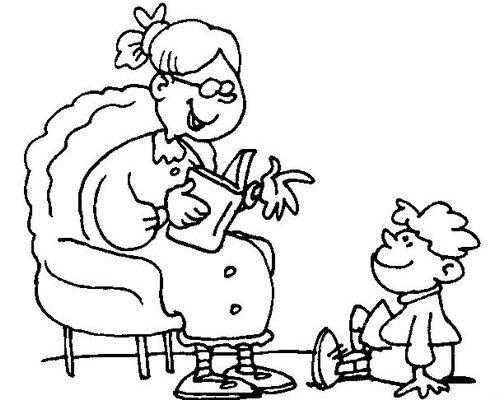 Dibujo Abuelita leyendo un libro a su nieto