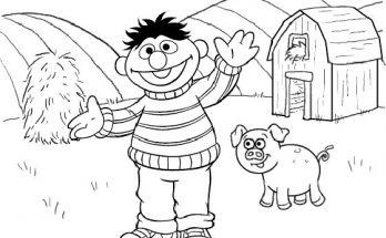 Dibujo Epi en la granja de Barrio Sésamo