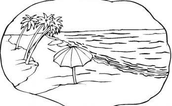 Dibujo Escena de playa con palmeras para colorear