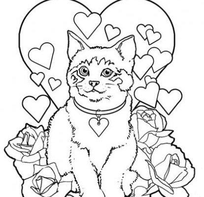 Gato Entre Flores Y Corazones Dibujos Para Colorear