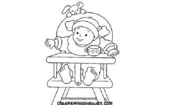 Dibujo Bebé esperando su biberón sentado en su trona
