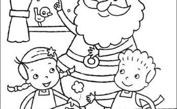 Dibujo Niños haciendo pastas con Santa Claus