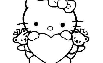 Dibujo Hello Kitty con un gran corazón para colorear
