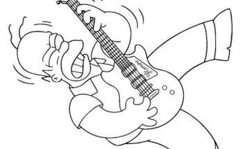 Dibujo Hommer tocando la guitarra eléctrica