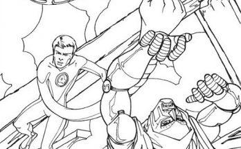 Dibujo Hombre elástico y la mujer invisible salvando el mundo