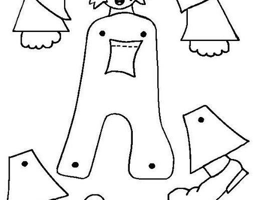 Dibujo Letra A articulada para recortar y colorear