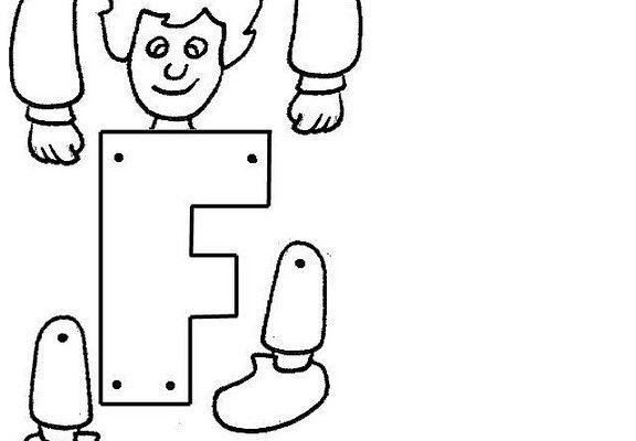 Dibujo Letra F articulada para recortar y colorear