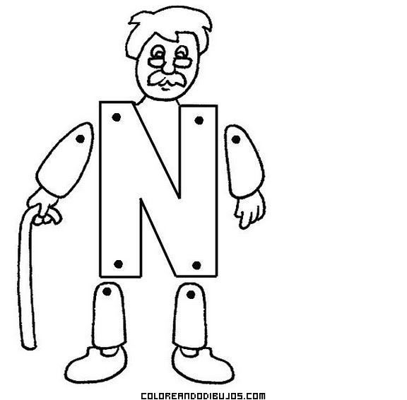 Letra N Articulada Para Recortar Y Colorear Y Armar Dibujos Para