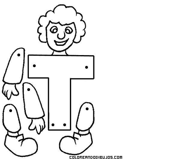 Letra T Articulada Para Recortar Y Colorear Dibujos Para