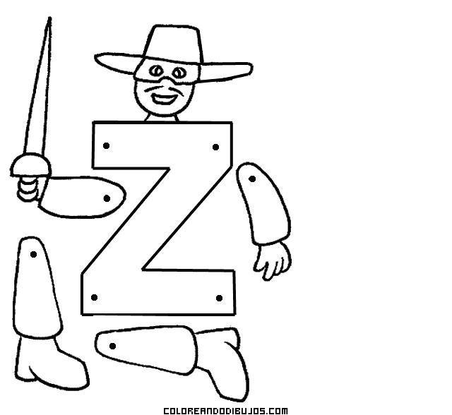 Letra Z Articulada Para Recortar Y Colorear Dibujos Para
