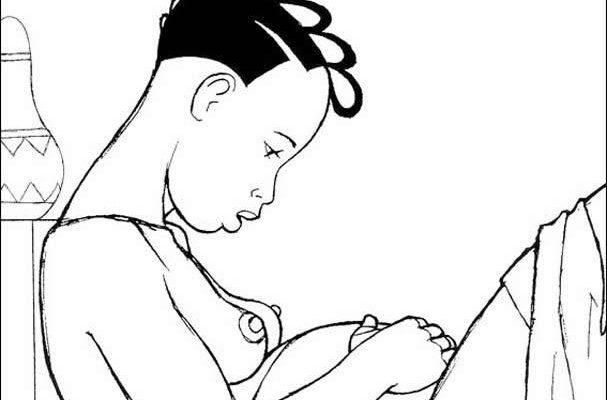 Dibujo Mamá africana embarazada