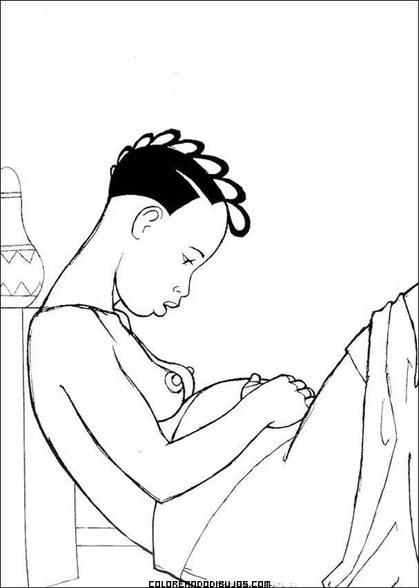 Mamá Africana Embarazada Dibujos Para Colorear