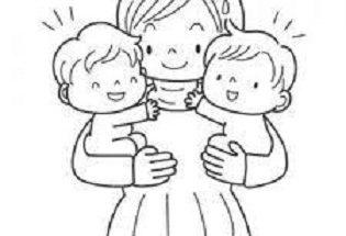 Dibujo Mamá y sus gemelos