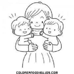 Mamá Y Sus Gemelos Dibujos Para Colorear