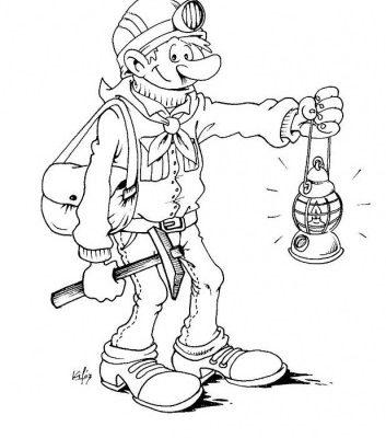 Dibujo Minero que va a la mina
