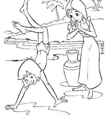 Dibujo Mowgli haciendo el pino