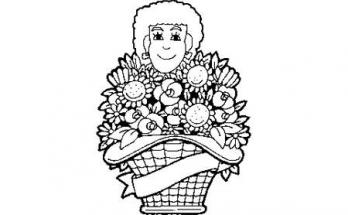 Dibujo Señora con cesta de flores