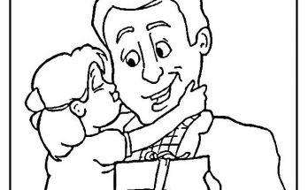 Dibujo Hija abrazando y besando a su papá