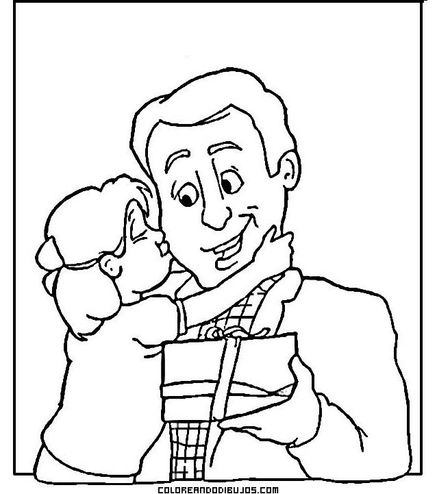 Hija Abrazando Y Besando A Su Papá Dibujos Para Colorear