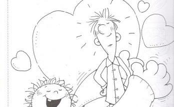 Dibujo Niño abrazando a su papá en el día del padre