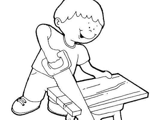 Dibujo Niño carpintero cortando madera