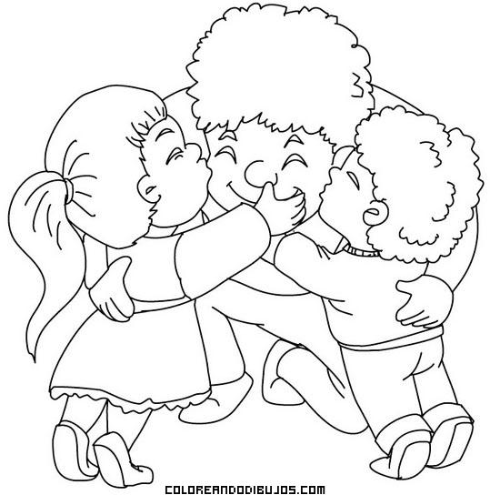 Niños Abrazando Con Mucho Amor A Su Papá Dibujos Para Colorear