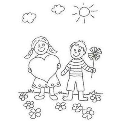 Dibujo Día primaveral en el campo