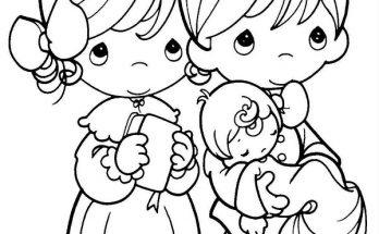 Dibujo Familia feliz van a la iglesia