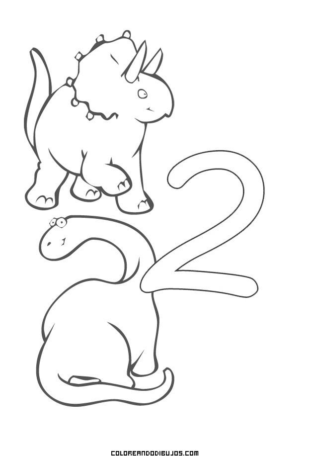Numero 2 Y 2 Dinosaurios Para Colorear Dibujos Para Colorear