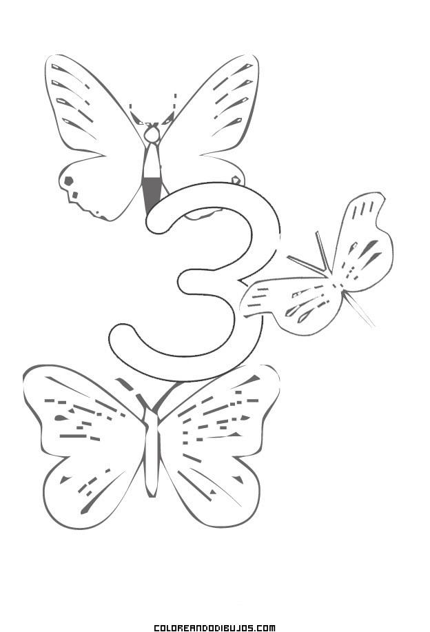 Número 3 Y 3 Mariposas Para Colorear Dibujos Para Colorear