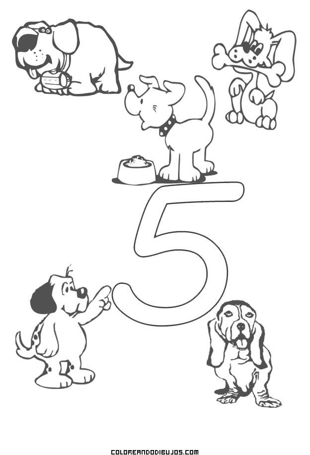 Número 5 Y 5 Perritos Para Colorear Dibujos Para Colorear