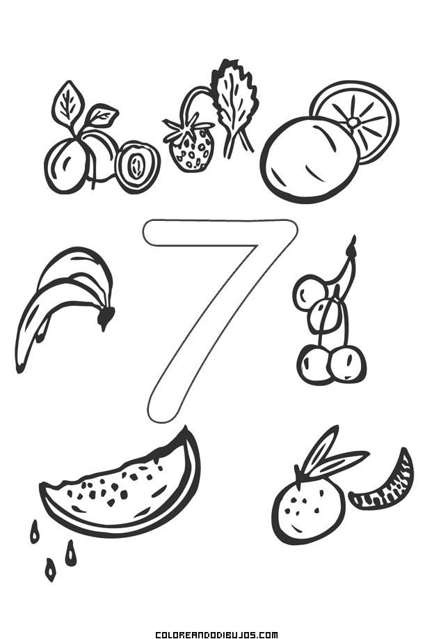 Número 7 Y 7 Frutitas Para Colorear Dibujos Para Colorear