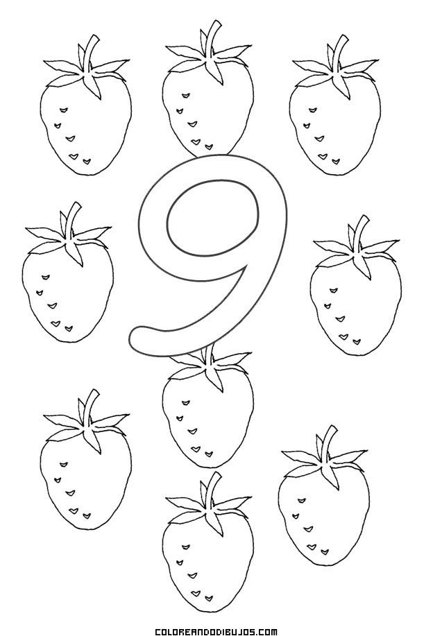 Número 9 Y 9 Fresitas Para Colorear Dibujos Para Colorear