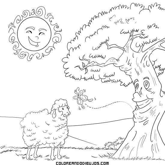 Ovejita árbol Mariposa Y Sol Se Divierten Dibujos Para Colorear