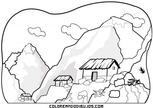 Paisaje De Montaña Con Cabañas Dibujos Para Colorear