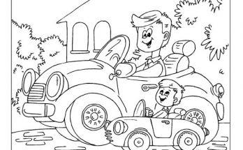 Dibujo Papá y su hijo montando cada uno en su coche