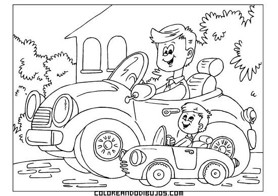 Papá Y Su Hijo Montando Cada Uno En Su Coche Dibujos Para