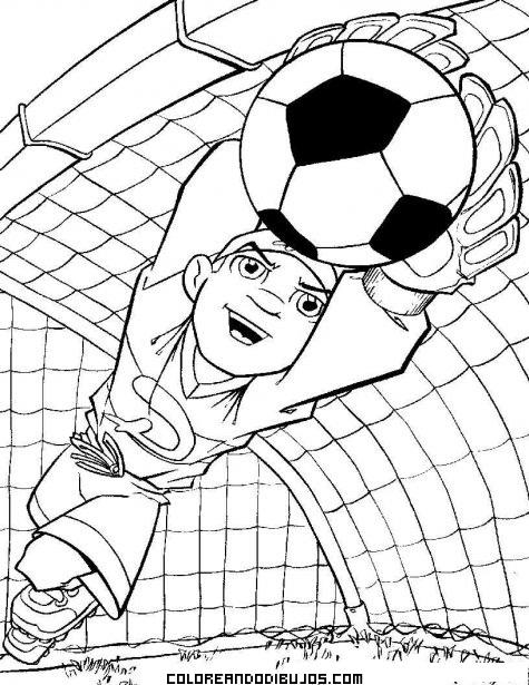 Portero De Fútbol En Acción Dibujos Para Colorear