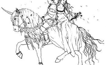 Dibujo Pareja romántica en Unicornio