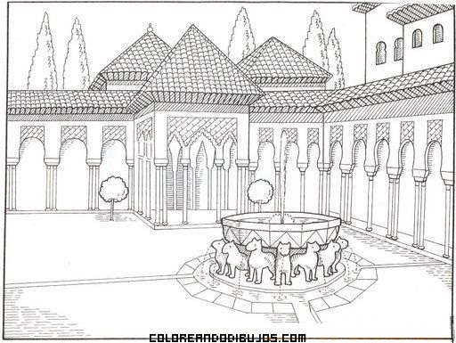 Dibujo Patio de los leones en Córdoba