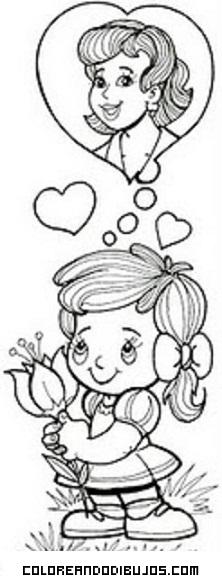 Pensando En El Regalo De Mamá Dibujos Para Colorear
