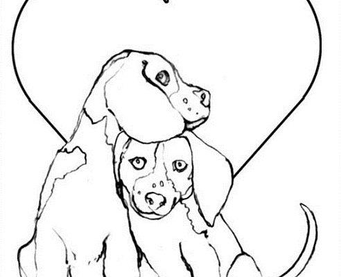 Dibujo Perritos enamorados y corazones