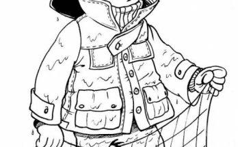 Dibujo Pescador faenando