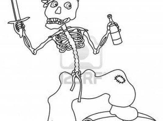Dibujo Esqueleto de pirata con una espada en la mano