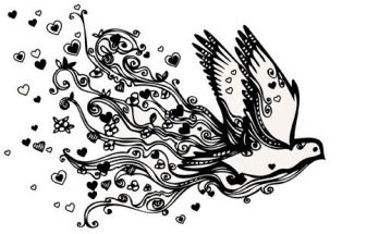 Dibujo Preciosa paloma de amor para colorear