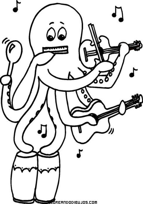 pulpo muy musical  dibujos para colorear