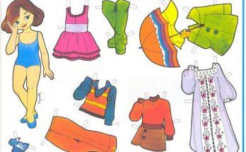 Dibujo Muñeca y ropa para recortar