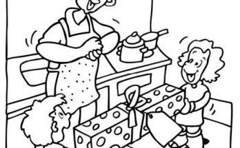 Dibujo Dos hermanos felicitan a mamá